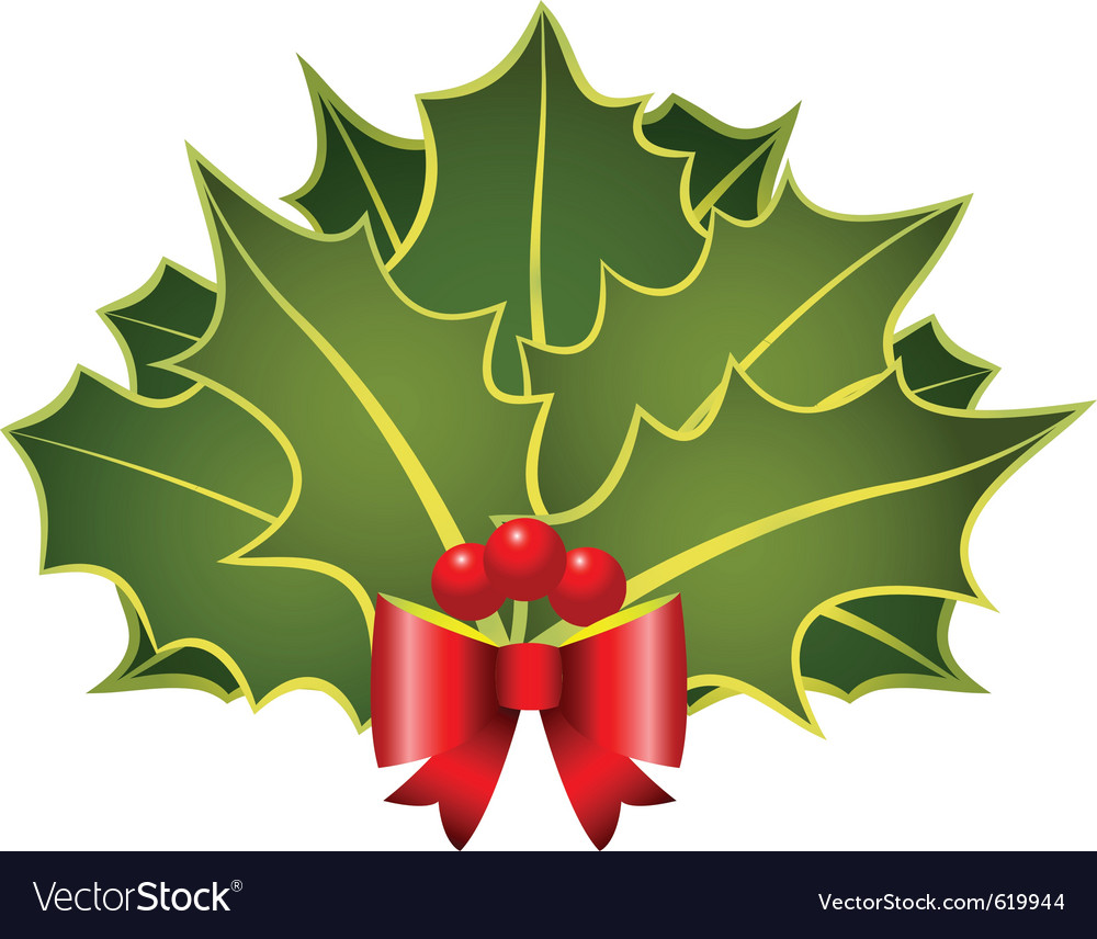 Christmas holly leafs with red bow and berries vector | Price: 1 Credit (USD $1)