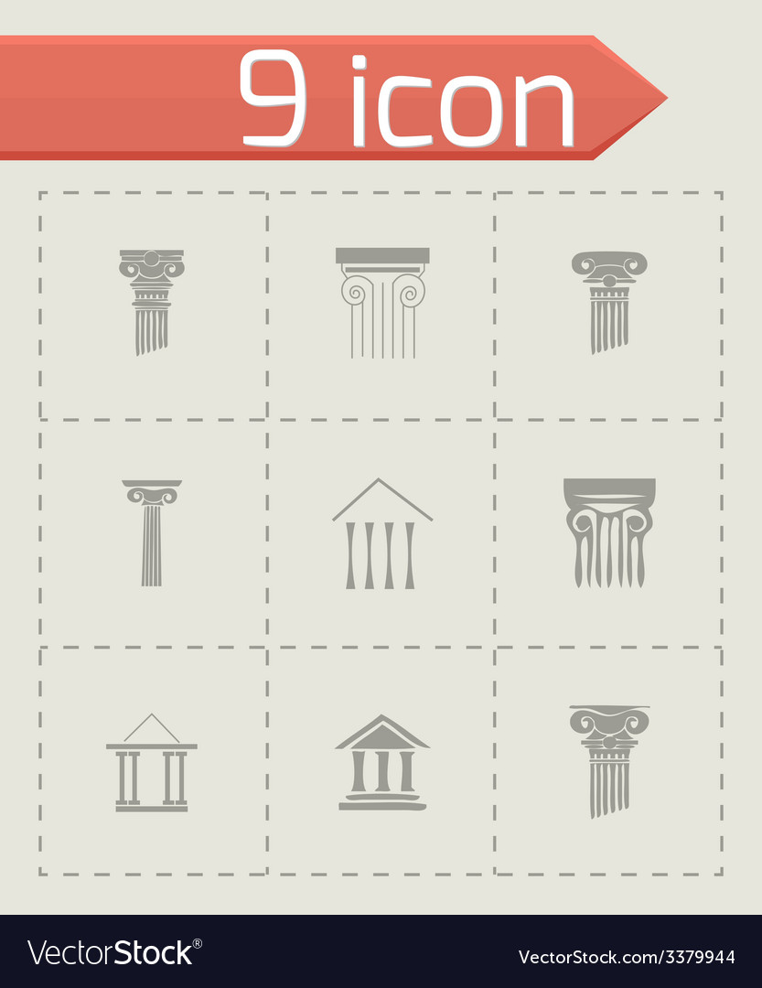 Coloumn icons set vector | Price: 1 Credit (USD $1)
