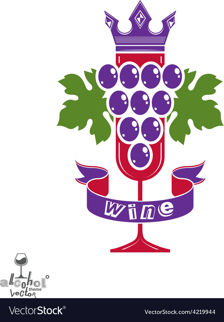 Elegant glass of wine with grapes cluster vector | Price: 1 Credit (USD $1)