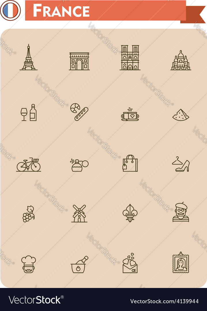 France travel icon set vector   Price: 1 Credit (USD $1)