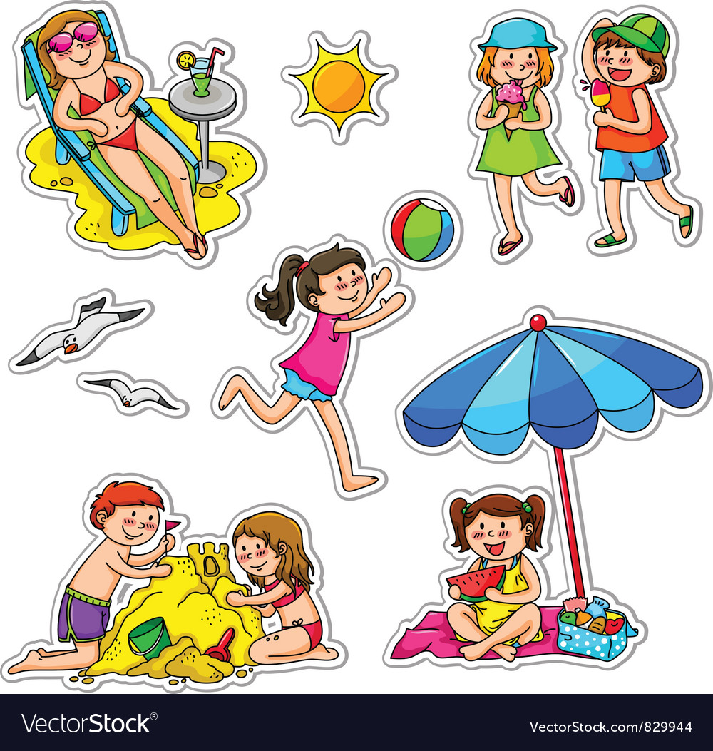 Kids in summer vector | Price: 3 Credit (USD $3)