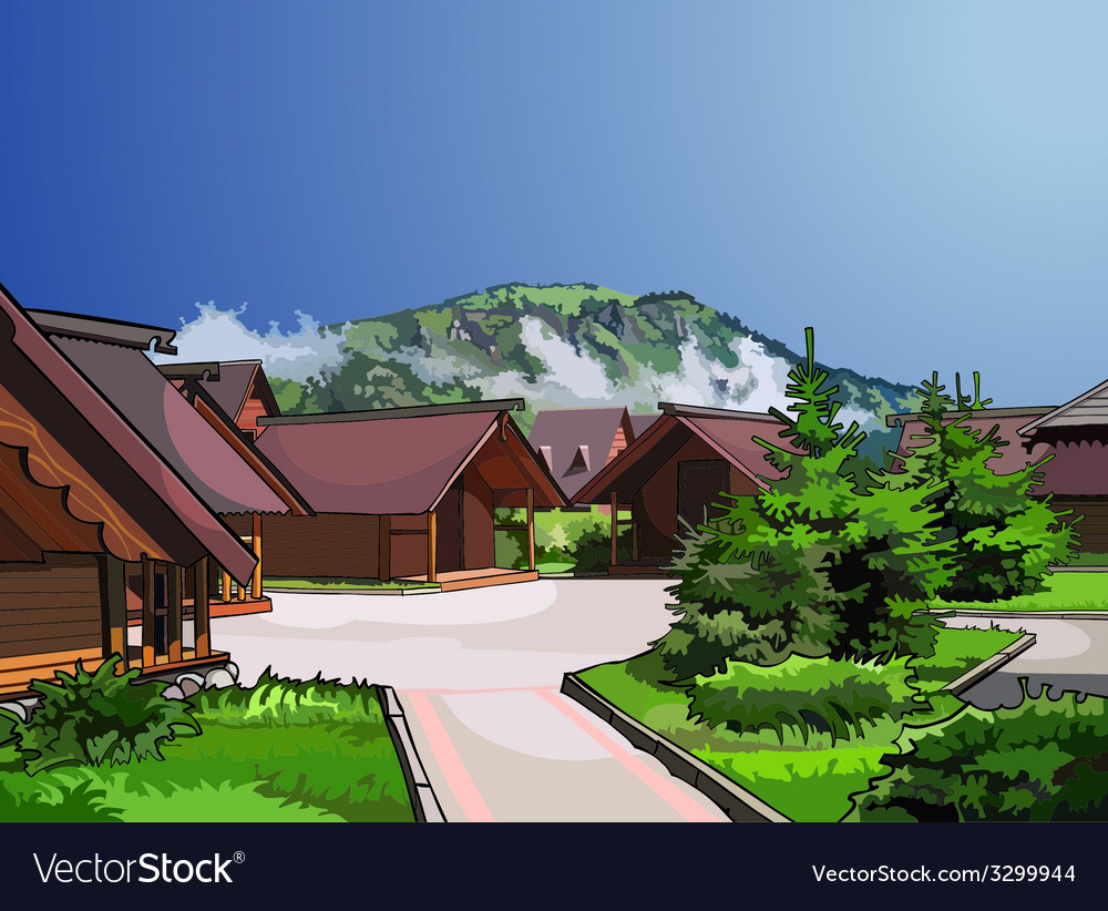 Landscape wooden houses vector | Price: 1 Credit (USD $1)