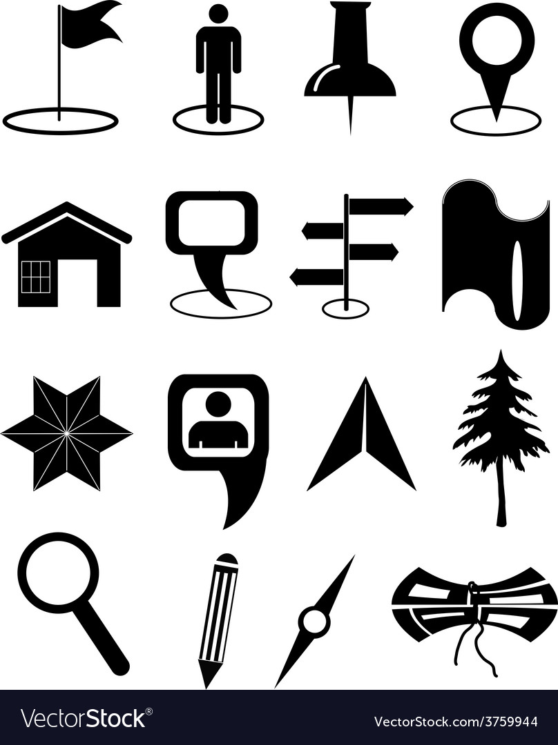 Map navigation icons set vector | Price: 3 Credit (USD $3)