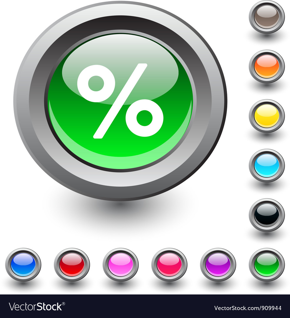 Percent round button vector | Price: 1 Credit (USD $1)
