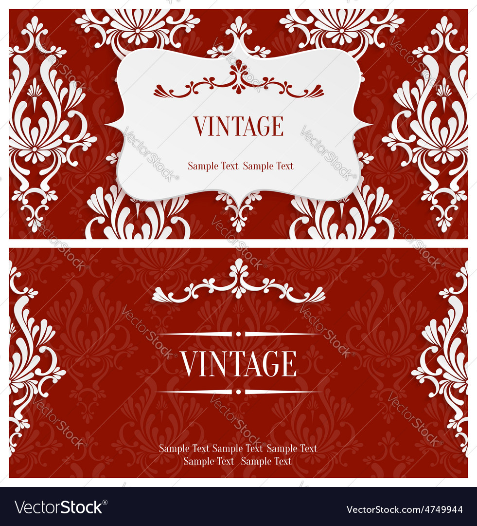 Red 3d vintage invitation template with vector | Price: 1 Credit (USD $1)