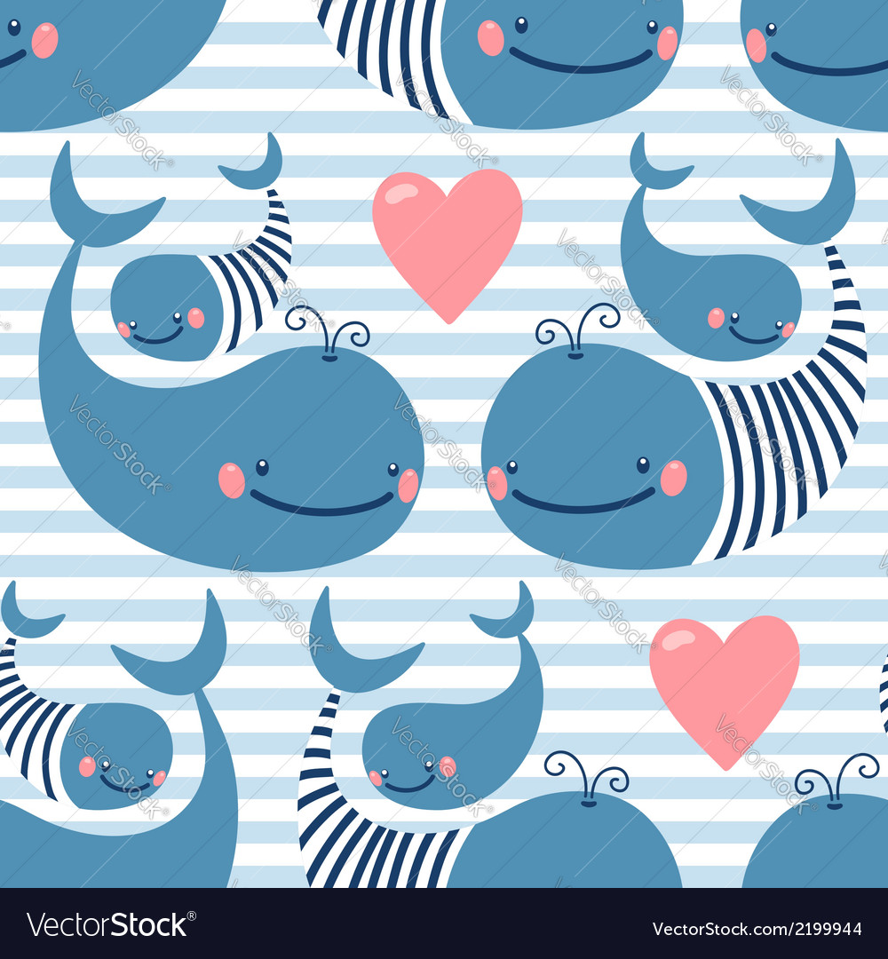 Seamless pattern with cute whales vector | Price: 1 Credit (USD $1)