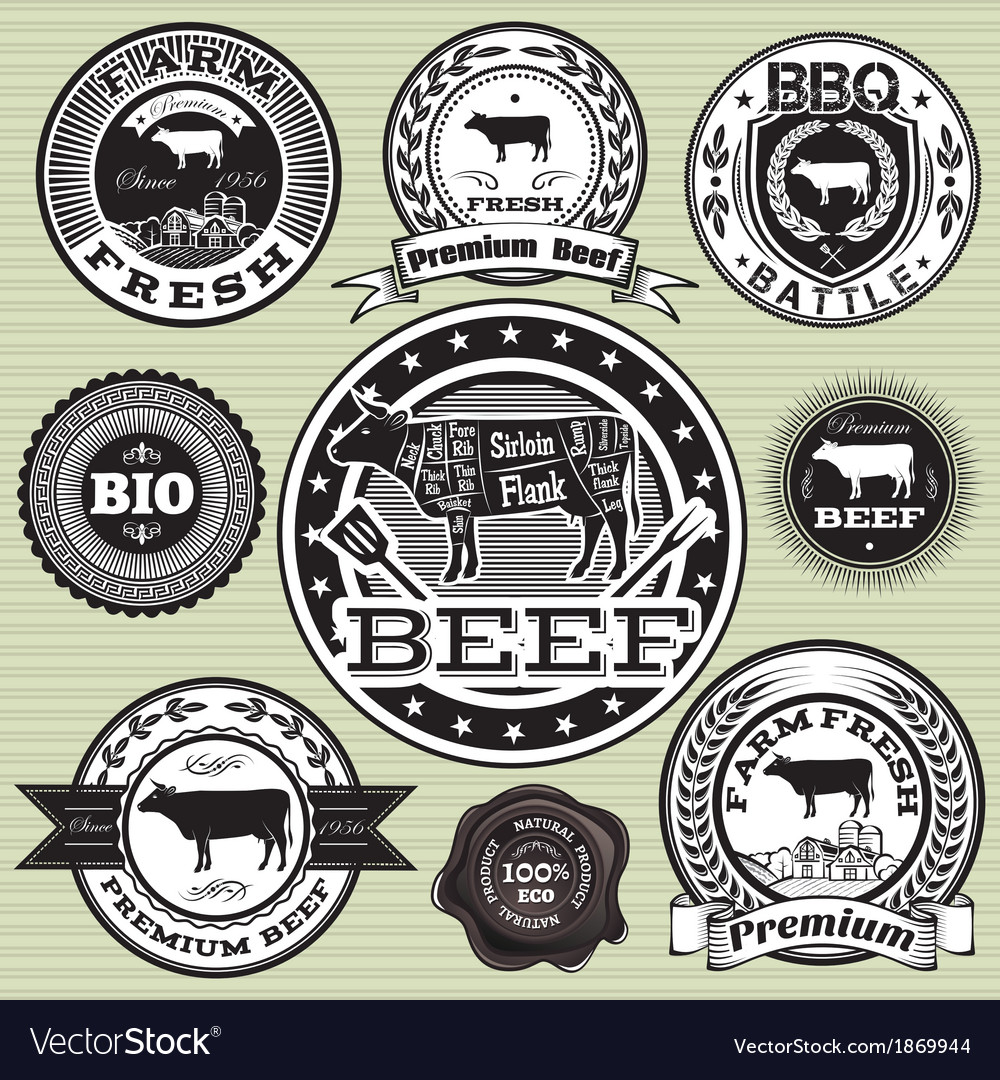 Set of labels with cow and beef vector | Price: 1 Credit (USD $1)