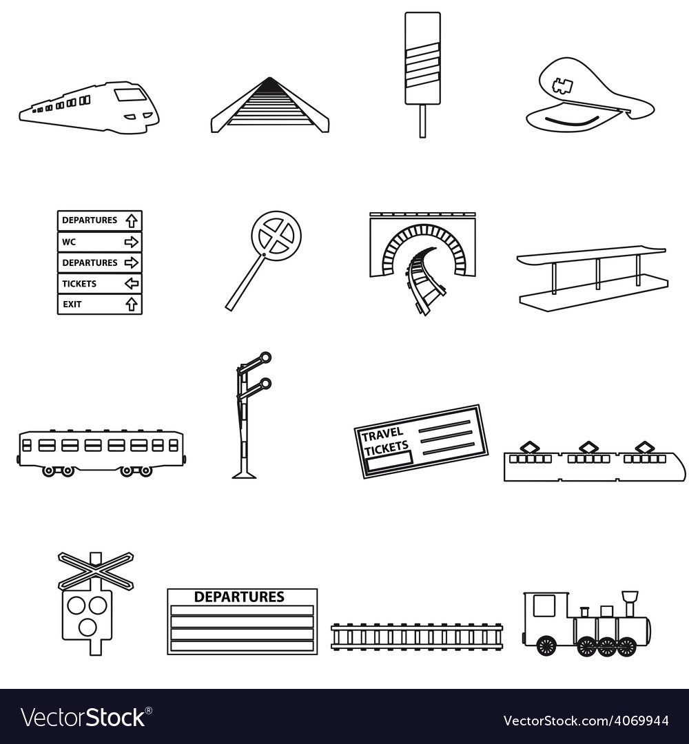 Train and railway simple outline icons eps10 vector | Price: 1 Credit (USD $1)