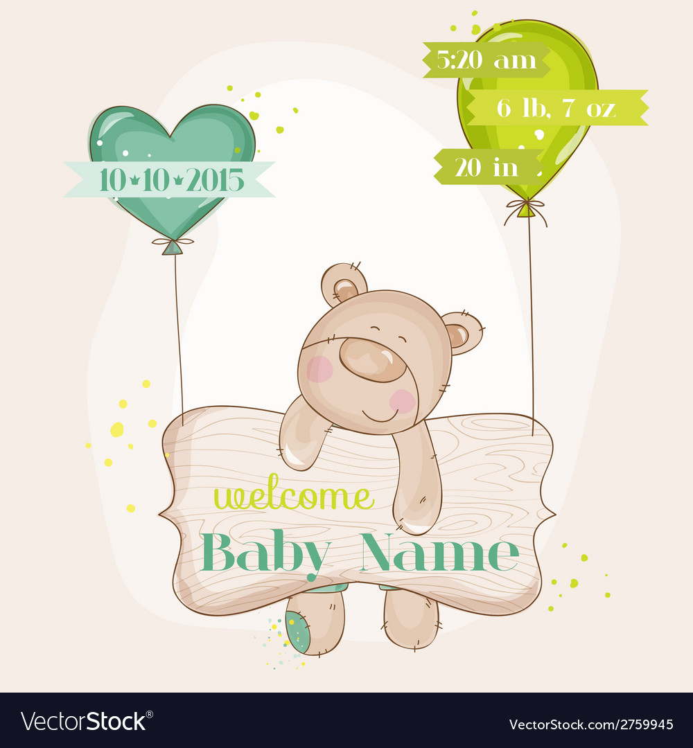 Baby bear with balloons - baby shower card vector | Price: 1 Credit (USD $1)