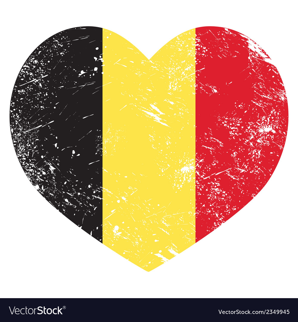 Belgium heart retro flag vector | Price: 1 Credit (USD $1)