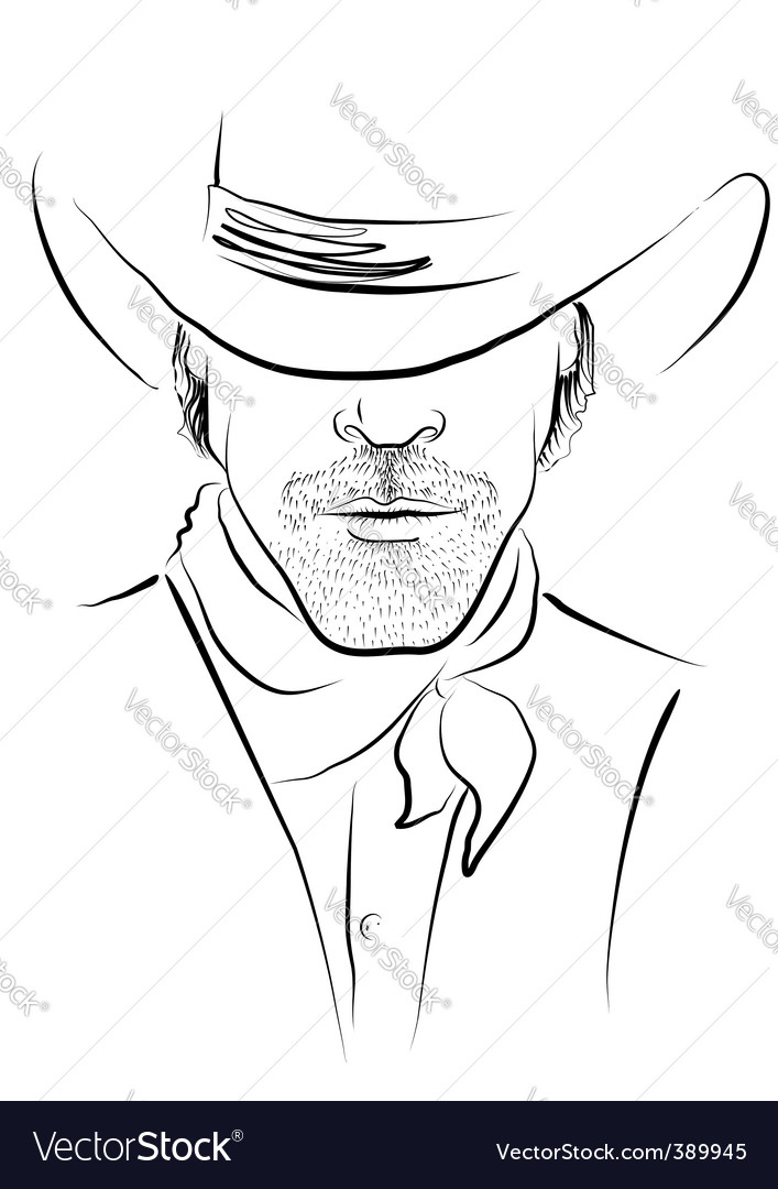 Cowboy face vector | Price: 1 Credit (USD $1)