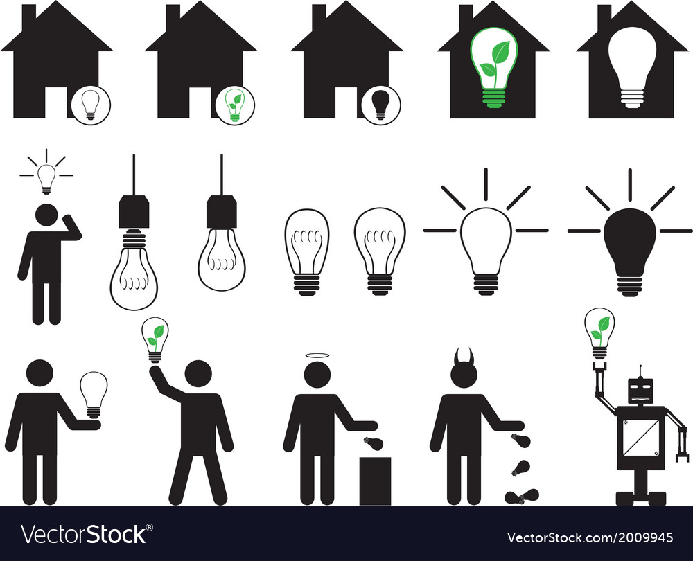 Human pictogram with bulbs vector | Price: 1 Credit (USD $1)