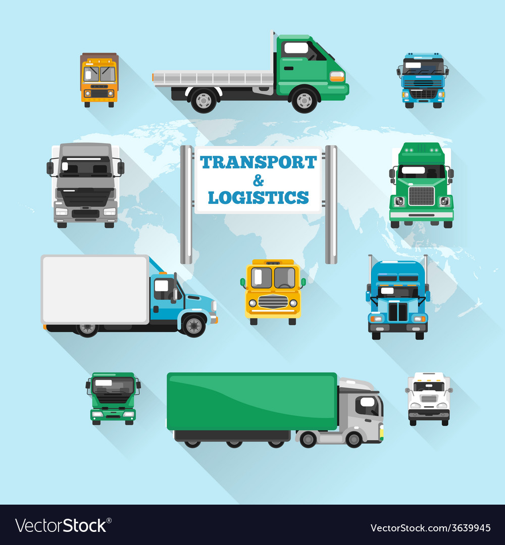 Truck icons flat vector   Price: 1 Credit (USD $1)