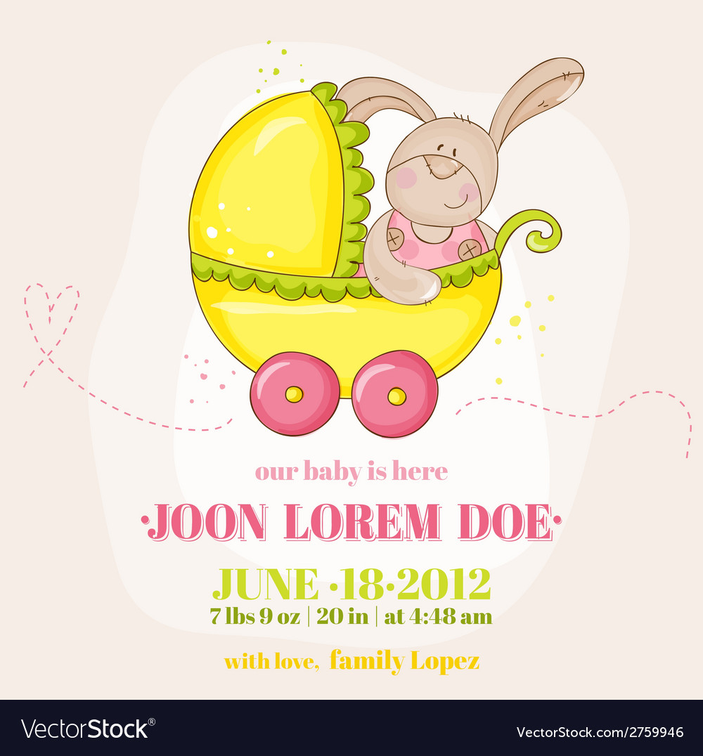 Baby girl arrival card - with baby bunny vector | Price: 1 Credit (USD $1)