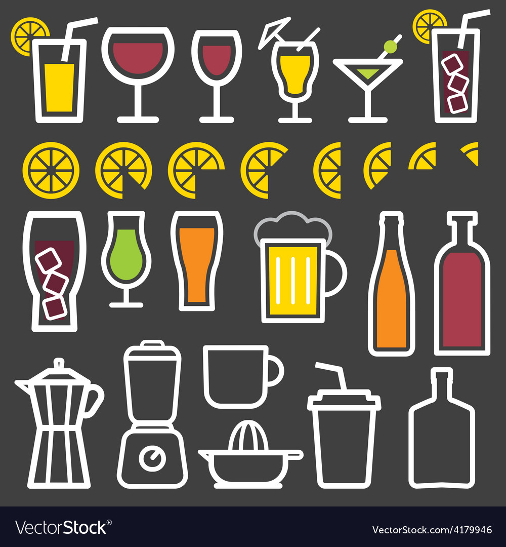 Beverage thin line symbol icon vector | Price: 1 Credit (USD $1)