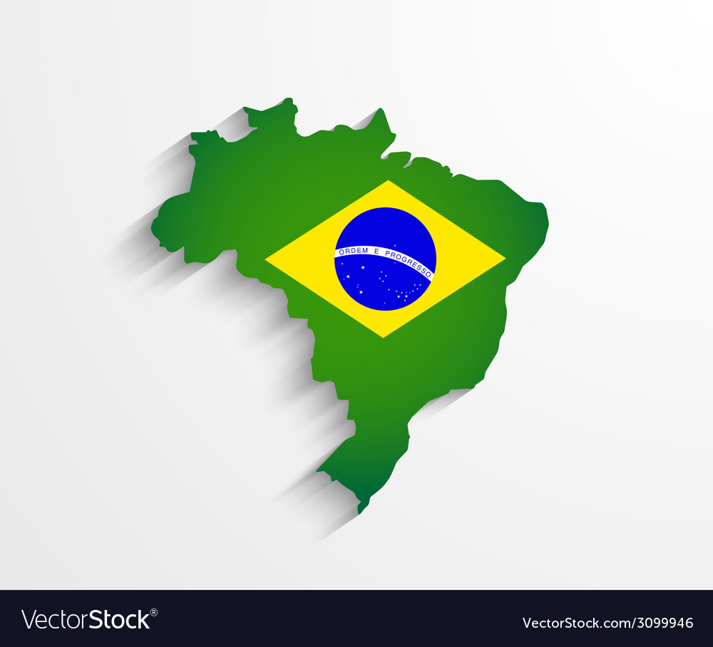 Brazil map with shadow effect vector | Price: 1 Credit (USD $1)