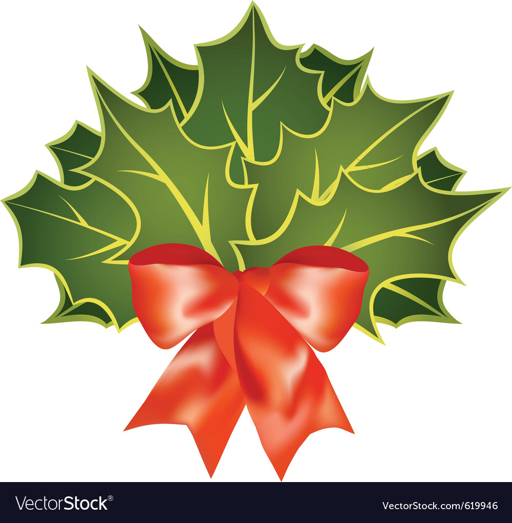 Christmas holly leafs with red bow vector | Price: 1 Credit (USD $1)