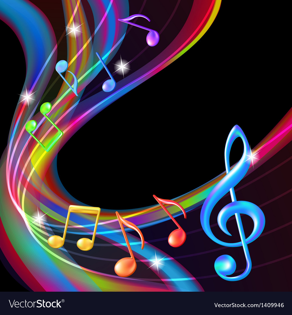 Colorful abstract notes music background vector | Price: 1 Credit (USD $1)