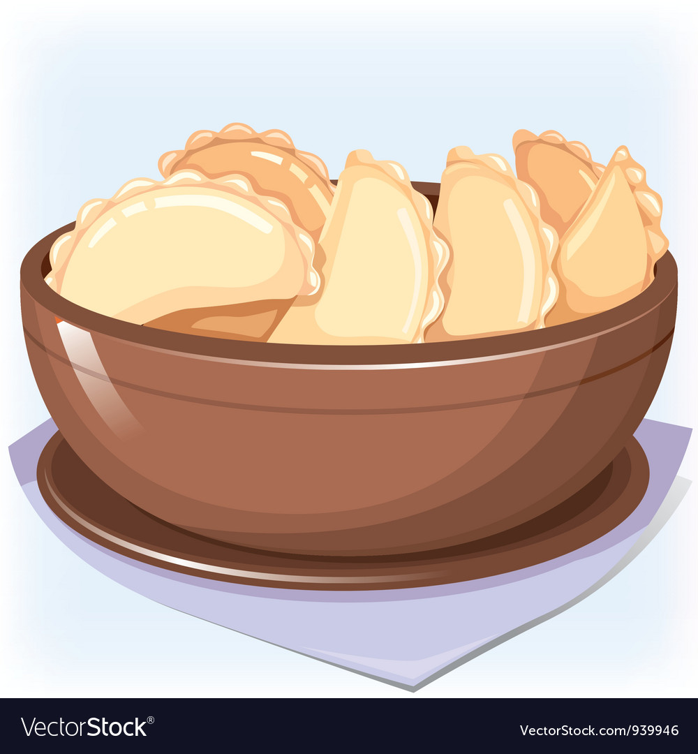 Dish with dumplings vector | Price: 3 Credit (USD $3)