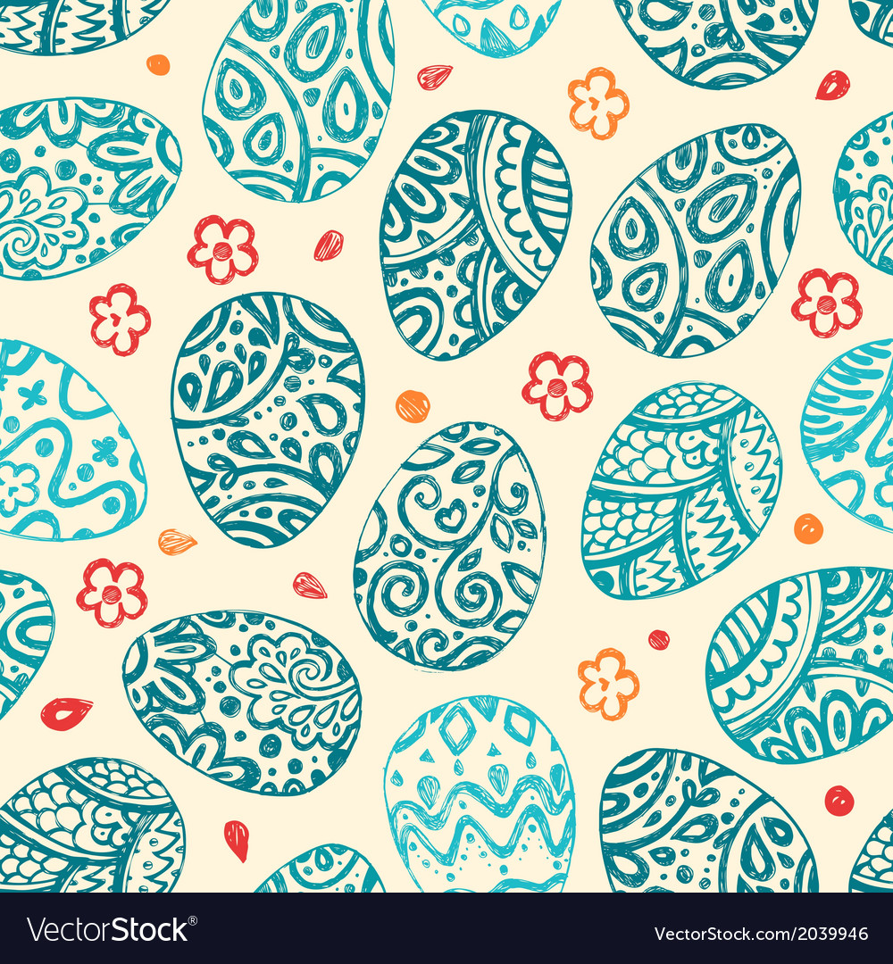 Eastern sketch eggs seamless pattern vector | Price: 1 Credit (USD $1)