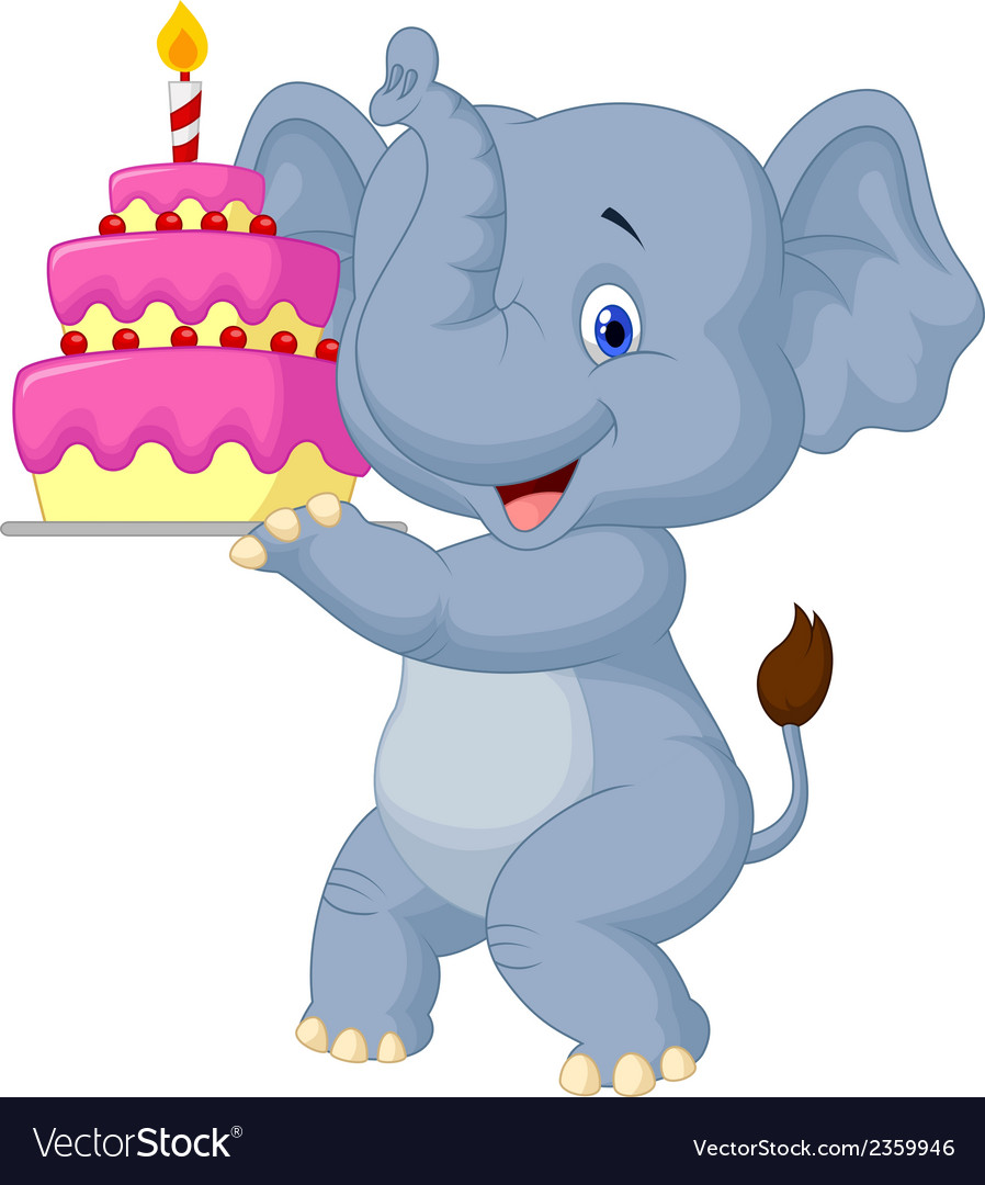 Elephant cartoon with birthday cake vector | Price: 1 Credit (USD $1)