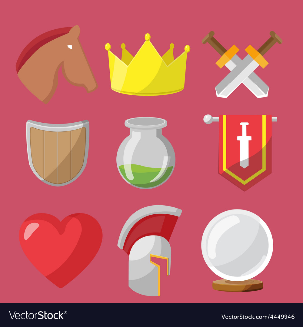 Fantasy game icons flat sets vector | Price: 1 Credit (USD $1)