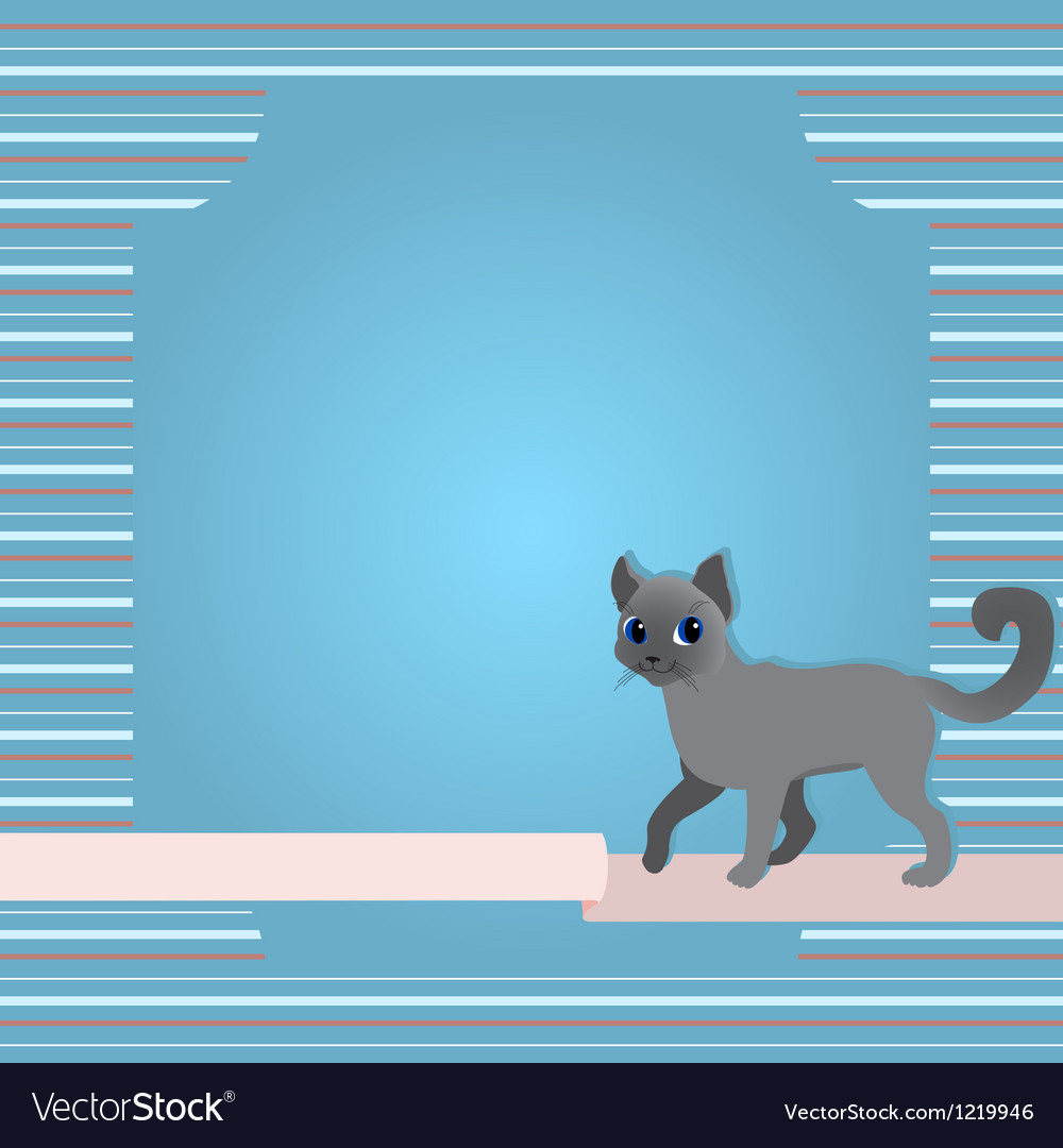 Greeting card with cat and ribbon vector | Price: 1 Credit (USD $1)