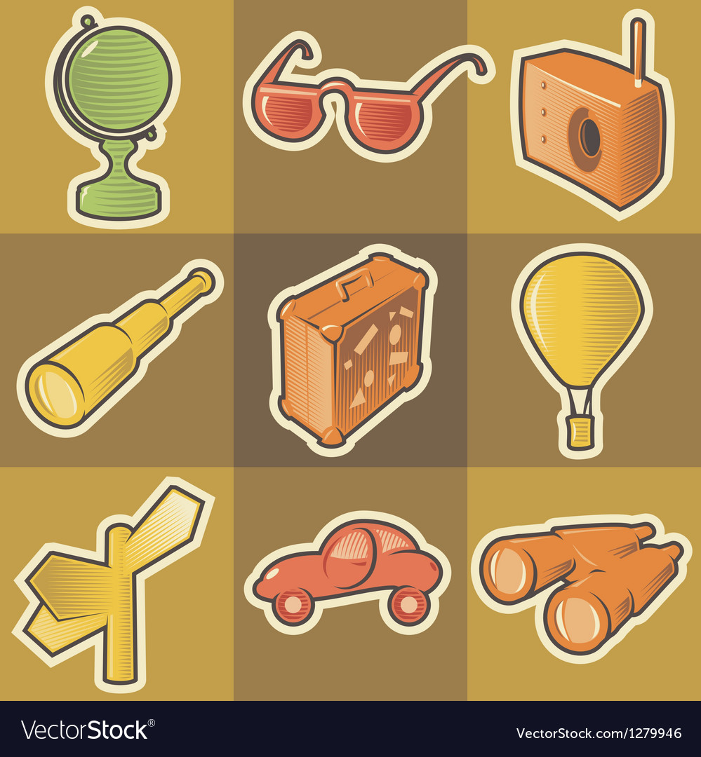 Multicolored travel icons vector | Price: 1 Credit (USD $1)