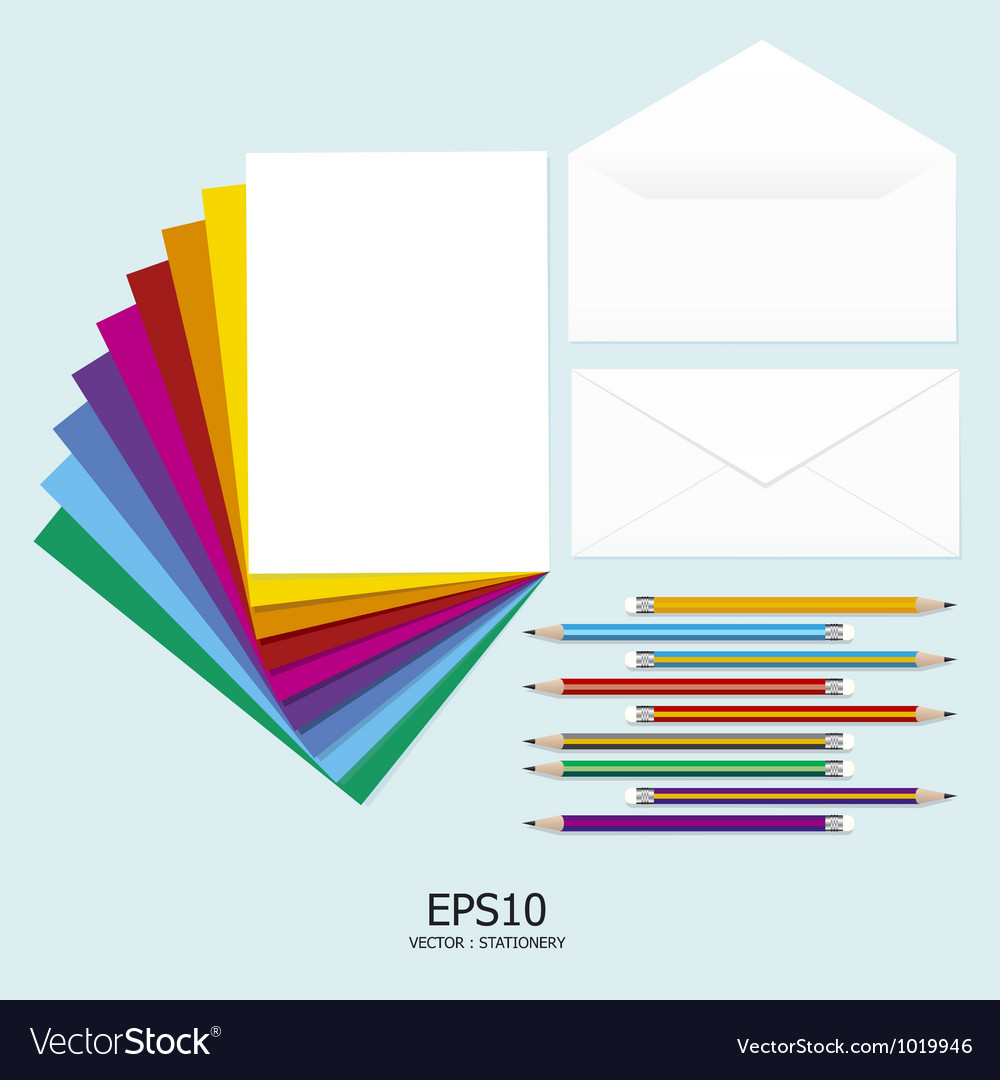 Note paper full color with pencil and letter vector | Price: 1 Credit (USD $1)