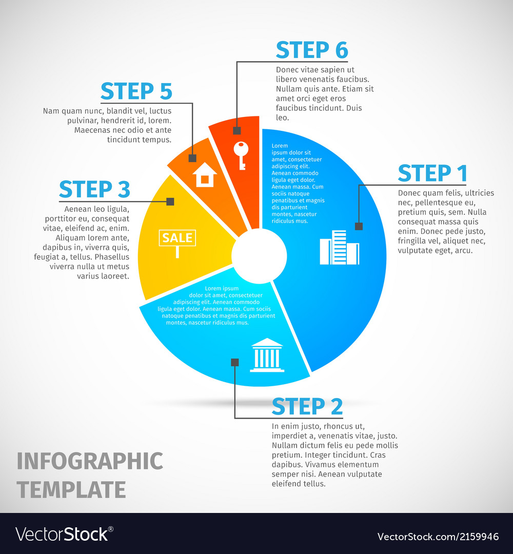 Pie chart real estate infographic vector | Price: 1 Credit (USD $1)