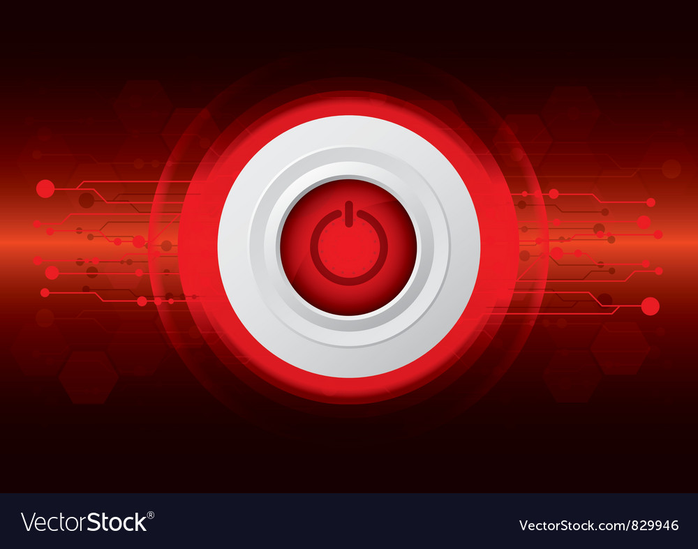 Power button on red digital background vector | Price: 1 Credit (USD $1)