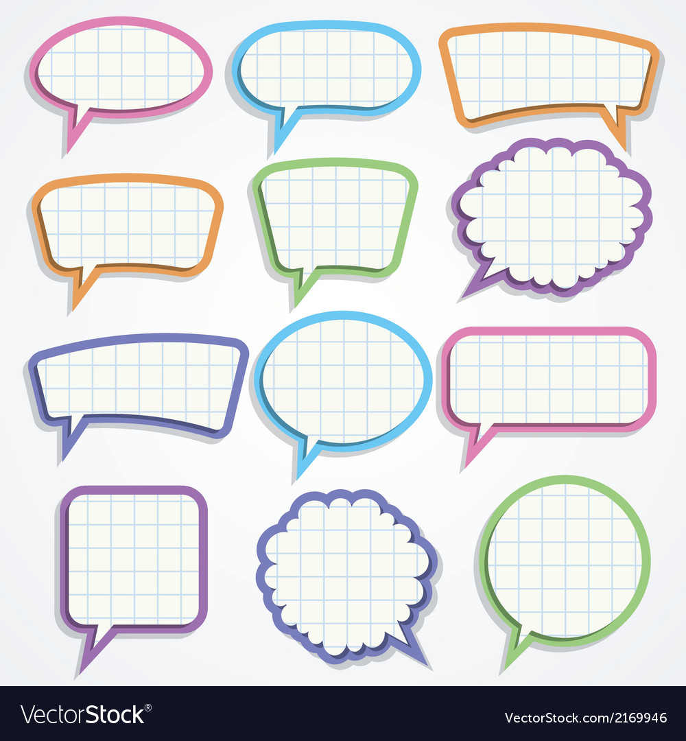 Set of colorful paper speech bubbles vector | Price: 1 Credit (USD $1)