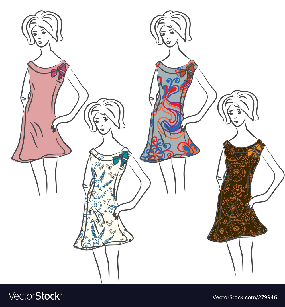 Sketch of retro woman vector | Price: 1 Credit (USD $1)
