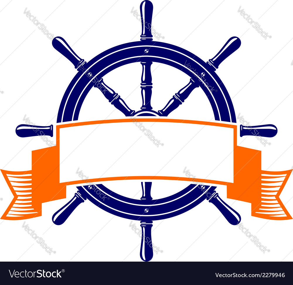 Steering wheel with banner symbol vector | Price: 1 Credit (USD $1)