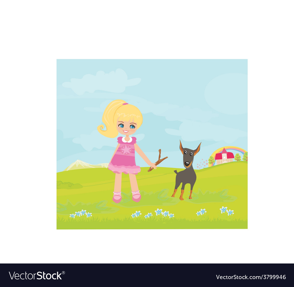 Sweet girl and her puppy vector | Price: 1 Credit (USD $1)