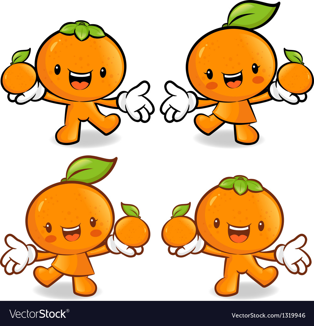 Tangerine and orange couple characters to promote vector | Price: 1 Credit (USD $1)