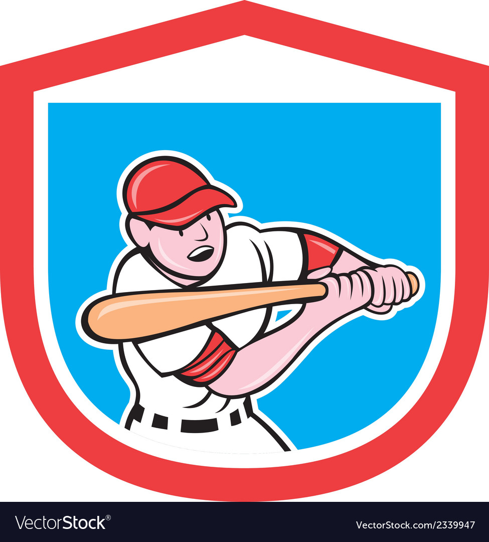 Baseball player batting shield cartoon vector | Price: 1 Credit (USD $1)
