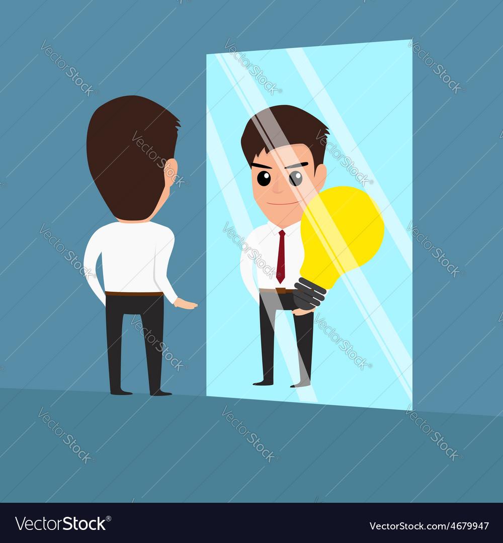 Businessman see idea in the mirror vector | Price: 1 Credit (USD $1)