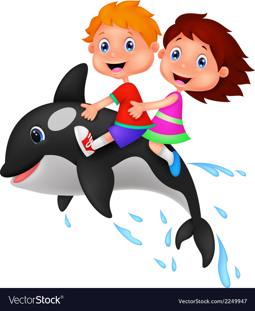 Cartoon boy and girl riding orca vector | Price: 1 Credit (USD $1)