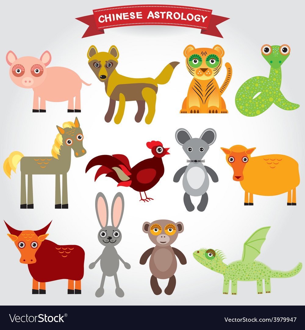 Chinese astrology set of funny animals on a white vector   Price: 1 Credit (USD $1)