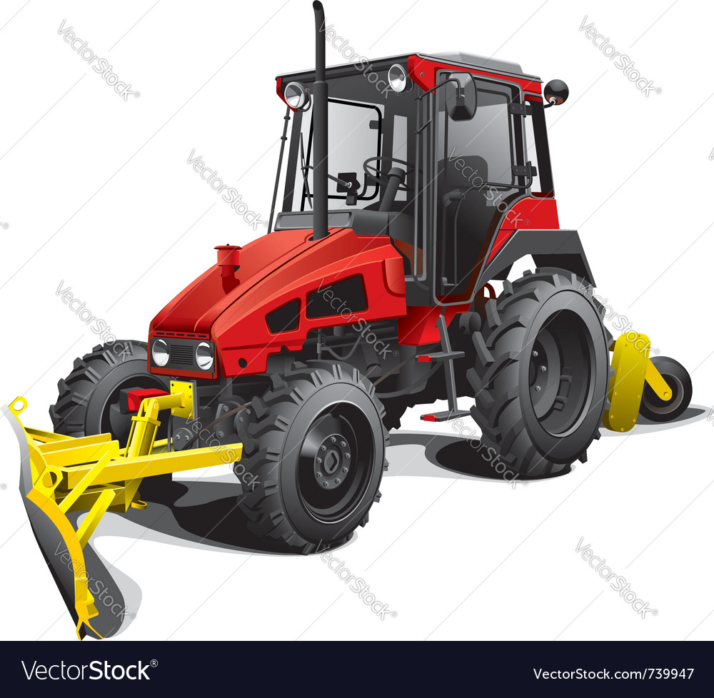 Compact snow tractor plow vector | Price: 5 Credit (USD $5)