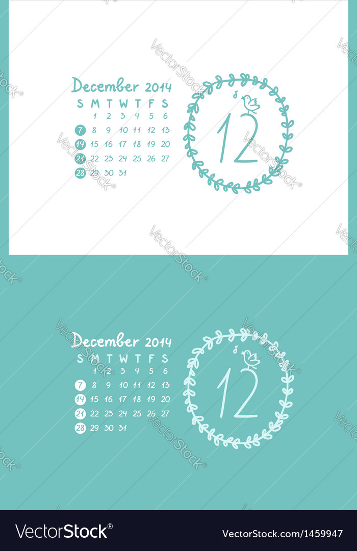 December 2014 vector | Price: 1 Credit (USD $1)