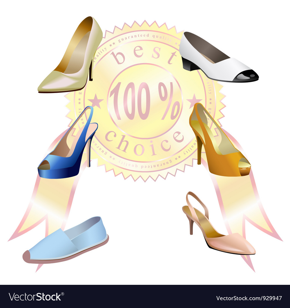 Fashionable womens shoes with sticker are on white vector | Price: 1 Credit (USD $1)