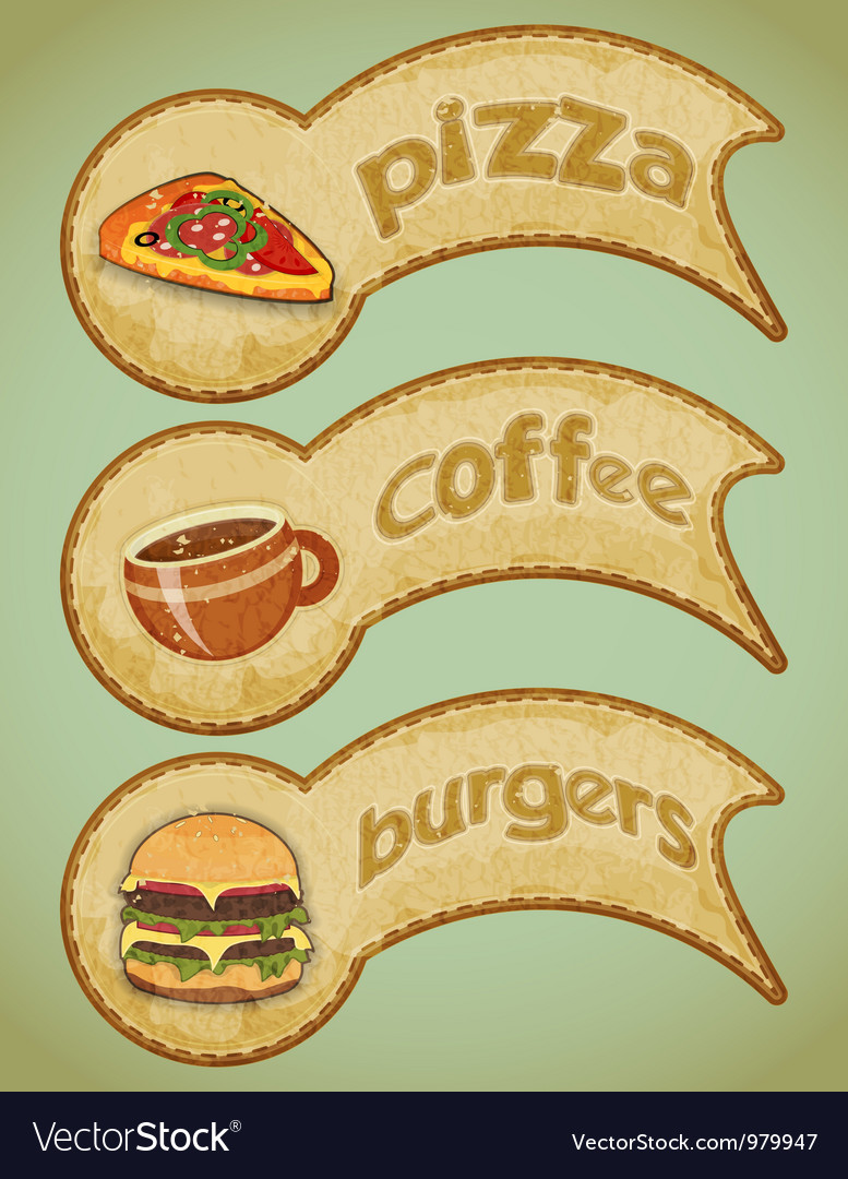 Food labels retro vector | Price: 1 Credit (USD $1)