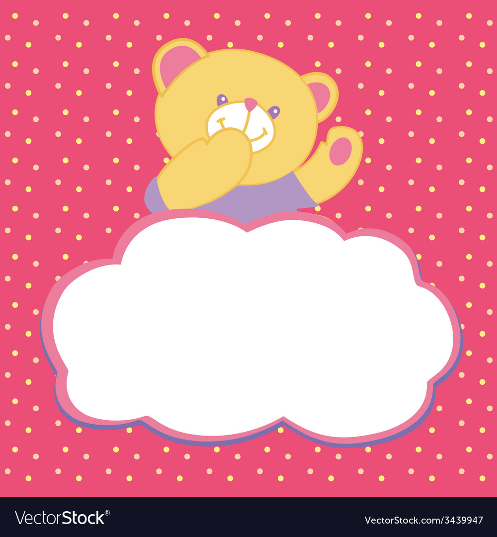 Greeting card with teddy bear vector | Price: 1 Credit (USD $1)