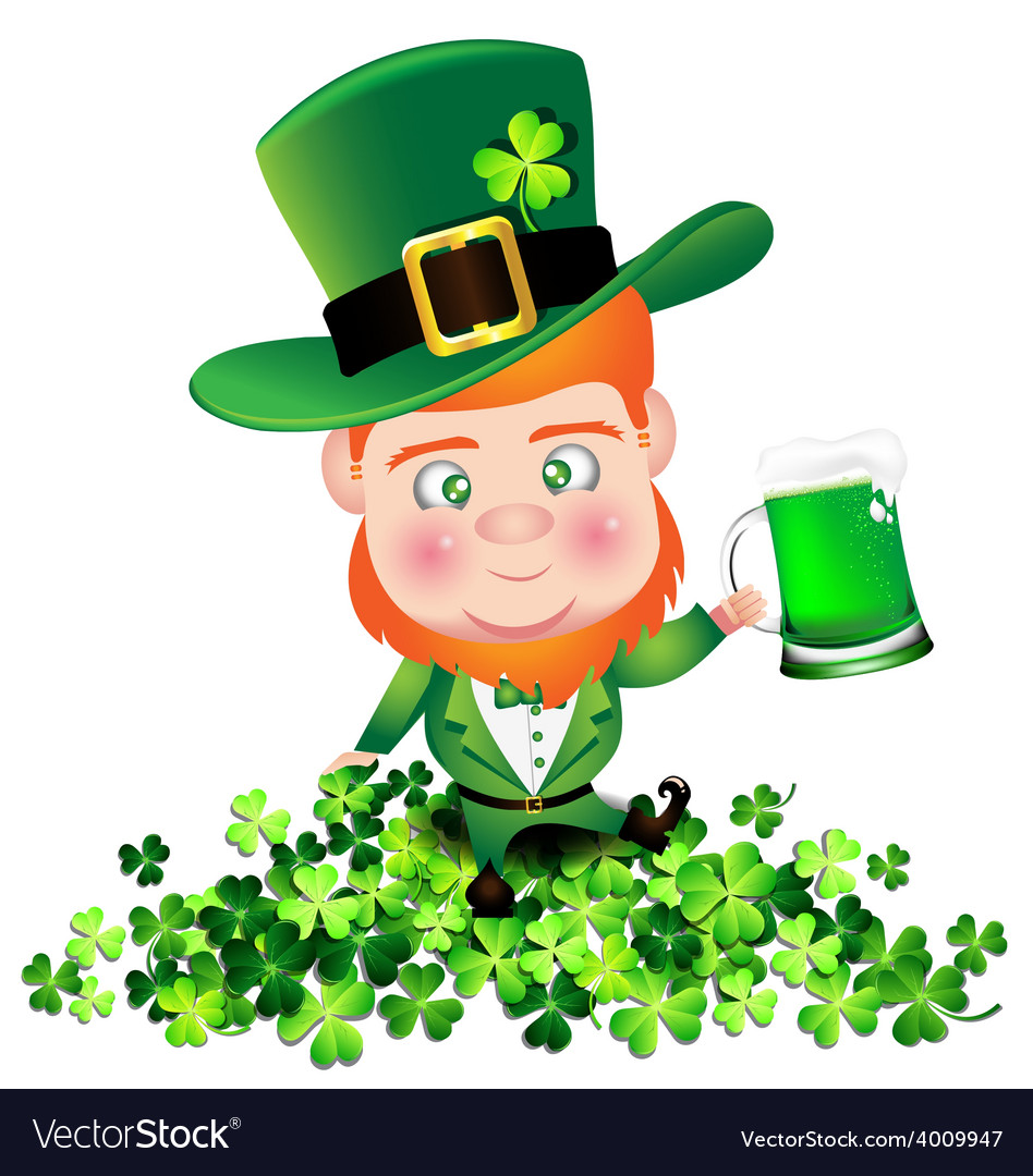 Irish man irish man hold beer on shamrock for st vector | Price: 1 Credit (USD $1)