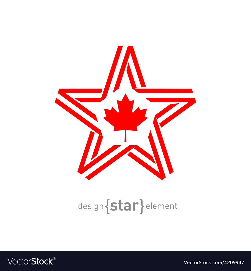 Monocrome star with canadian flag color and symbol vector | Price: 1 Credit (USD $1)