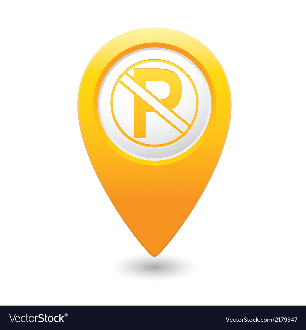 No parking icon on yellow pointer vector | Price: 1 Credit (USD $1)