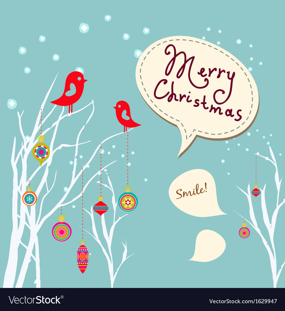 Retro christmas card with two birds white vector | Price: 1 Credit (USD $1)