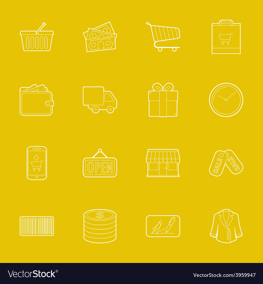 Shopping thin lines icons set vector | Price: 1 Credit (USD $1)